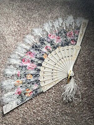 Folding Spanish Flower Floral Fabric Hand Fan