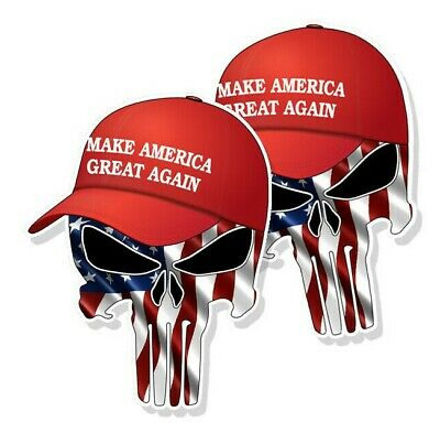 "TRUMP PUNISHER STICKERS Waving American Flag MAGA Hat Decals 5"" tall 2-pack"