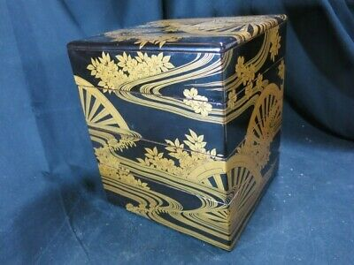 Edo era Japan antique water mill Makie TABLE TOP LACQUER BOX CABINET gift set