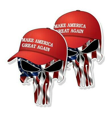 "TRUMP PUNISHER STICKERS Waving American Flag MAGA Hat Decals 4"" tall 2-pack"