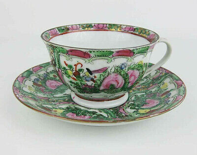 Vintage Japanese/Chinese Famille Rose Medallion Tea Cup & Saucer Hand Painted