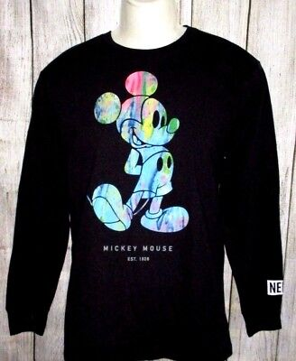 6ba06df2 MENS NEFF DISNEY Collection Mickey Mouse Black Long Sleeve T-Shirt Size M