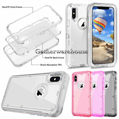 Clear Defender Case For iPhone 6 7 8 Plus 6s X XR XS Max Heavy Duty Shockproof