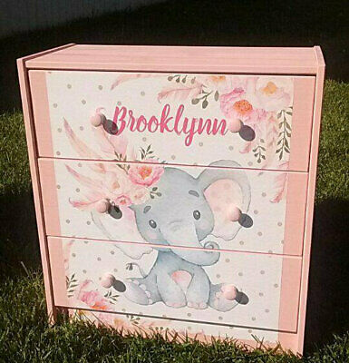 Custom Made Pink Elephant Nursery Personalized 3 Drawer Chest Nightstand