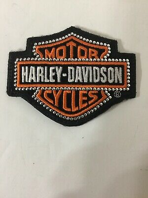 Harley Davidson Patch Classic Bar Shield Orange Embroidered Embellished Iron Sew