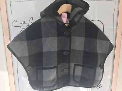 Country Road Plaid Wool Hooded Cape Jacket Sz 2-3