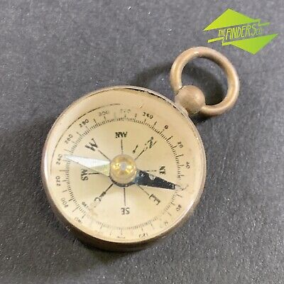 VINTAGE c.WW1-ERA BEVELLED GLASS BRASS POCKET FOB COMPASS MADE IN GERMANY