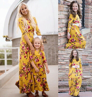 CA Family Dress Mother and Daughter Matching Girls Outfit Clothes Floral Dresses