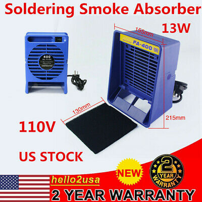 110V Blue Solder Smoke Absorber Remover Fume Extractor Filter Smoke Fan US Stock