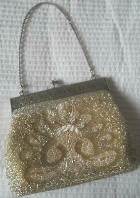 Gorgeous Vintage 1950'S 1960'S Pale Gold Heavily Beaded Evening Purse Bag
