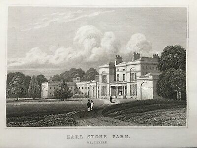 1831 Antique Print; Erlestoke Park, Wiltshire after Neale