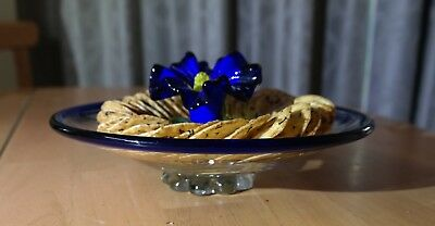 Blue flower vintage glass tableware stunning blown solid lampwork very scarce!