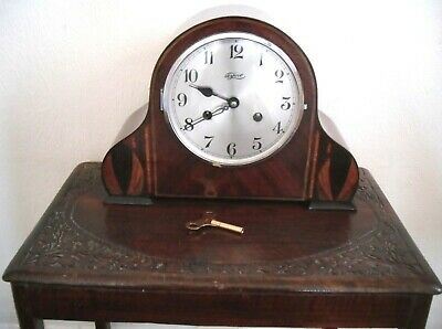Vintage 1930-40s Perivale/Tymo Wood Inlay Chiming Mantel Wind-up Clock,Restored