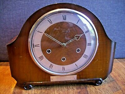 Antique Smiths Art Deco Oak Mantel Clock with Westminster Chimes Key & Pendulum