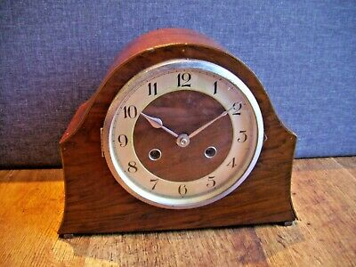 Antique 1930's Haller German Oak Mantel Clock (with Chime Key and Pendulum Time)