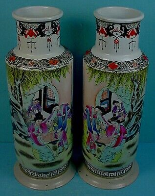 Matched Pair Vintage Chinese Republic Period Porcelain & Brass Rouleau Vases