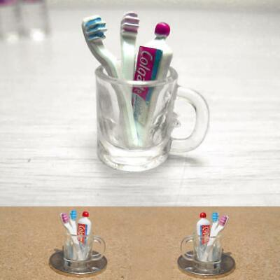 Dollhouse Miniature Bathroom Accessory Toothbrush Toothpaste Cup Glass set