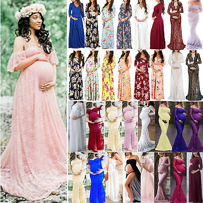 Maternity Women's Photography Shoot Pregnant Gown Party Lace Floral Maxi Dress