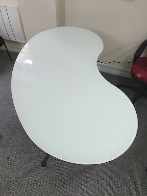 Ikea Galant Kidney Shaped With White Frosted Glass Desk Excellent Condition