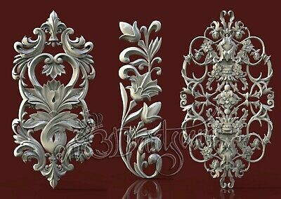 3 3D STL Models Door Flower Decor CNC Router Carving Machine Artcam aspire Cut3D