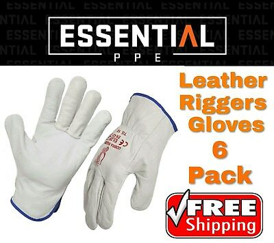 6 Pack Genuine Full Grain Leather Riggers gloves Cow Hide