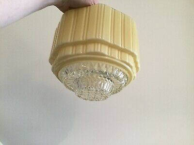 Art Deco Ribbed Cream Glass Light Shade with Clear Faceted Glass Diffuser