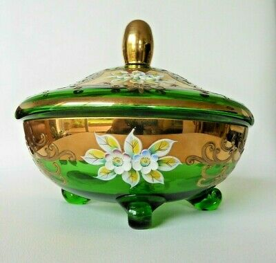 Vintage 6 inch Bohemian Green Glass lidded Candy dish with feet GILDING FLOWERS