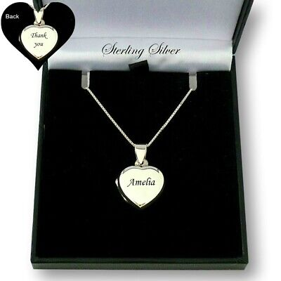 Engraved Heart Locket Necklace, Any Engraving, 925 Sterling Silver, Personalised