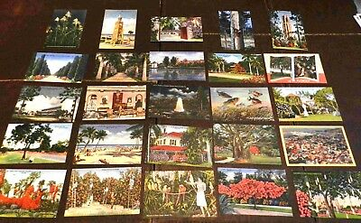 Lot of 25 Postcards (Lot 150) Florida Linen Finish 1930's to 1950's