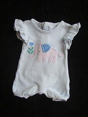 Baby clothes GIRL premature/tiny<7.4/3.2kg cute elephant blue romper SEE SHOP!