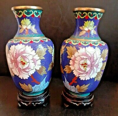 Pair Of Vintage Oriental / Chinese Cloisonne Vases On Wooden Bases
