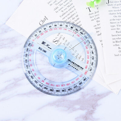 Plastic 360 Degree Protractor Ruler Angle Finder Swing Arm School Office MF