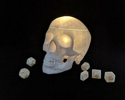 Lighted Skull Dice Box with Magnetic Closure,Dungeons and Dragons,DnD,RPG,White
