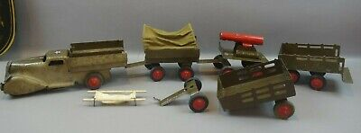 Vintage Marx Toy US Army Truck w/Trailers, Troop Transport, Cannon Trailer, etc.