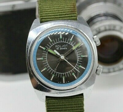 Vintage POLJOT SIGNAL Mechanical ALARM Soviet Era Men's Watch BZZZZ BZZZZ