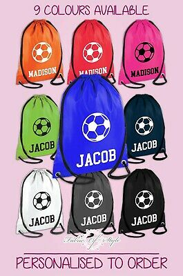 Personalised Any Name Football Back Drawstring Polyester Bag PE GYM School Kids