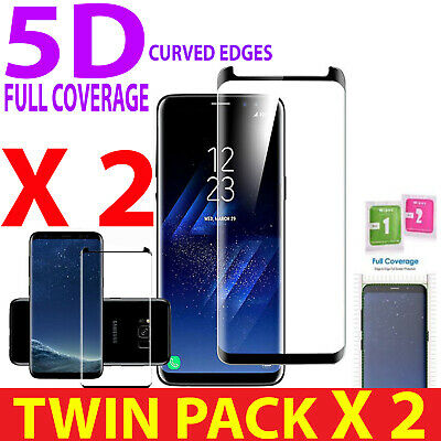 100% FULL COVERAGE 5D Clear Tempered Glass-ScreenProtector 2XFor Samsung Galaxy