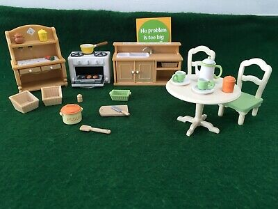 Sylvanian Family kitchen with dining table and chairs