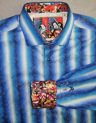 *Mint*  ROBERT GRAHAM men's Hidden Garden Stripe Print Sport Shirt ($268) L