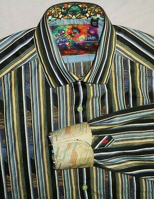 ROBERT GRAHAM men's Glossed Cotton Multi Color Embroidered Sport Shirt ($288) M