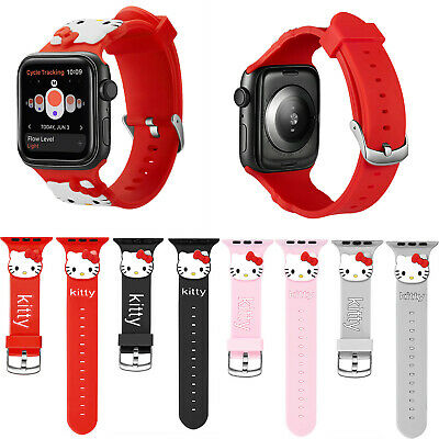 4e86d7436 Cartoon Hello Kitty Silicone Sport Band For Apple Watch Series 4 3 2 Wrist  Strap
