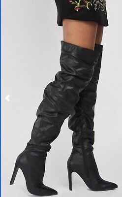 Designer Black Thigh High Lost Ink Slouch Boots 8/41 Thick Heel Faux Leather