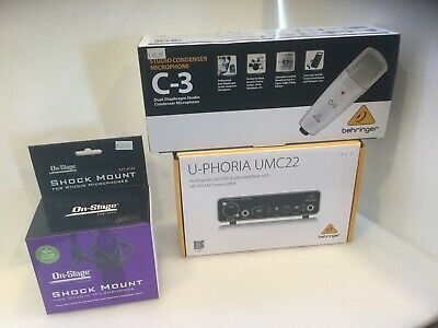 Behringer UMC22 U-Phoria USB Audio Interface w/Behringer C-3 Mic & Shock Mount