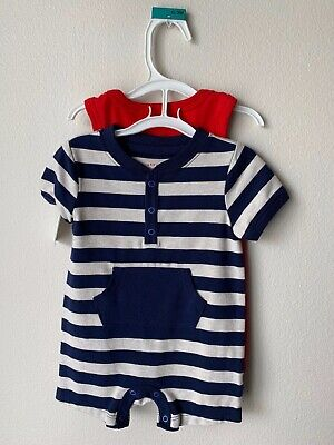 Baby Cat & Jack 2 Piece Boy Romper Bodysuits Red Blue Striped 0-3M NEW With Tags
