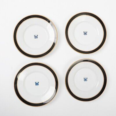 Set of 4 Lynn Chase Jaguar Jungle Saucer Plates Butterfly Design Black Gold 5.5""
