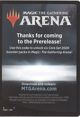 Magic: The Gathering Arena CORE SET 2020 Prerelease SIX BOOSTER PACKS Code