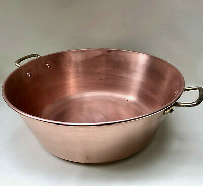 Large Vintage French Solid Copper Jam / Preserve Cooking Pan With Brass Handles