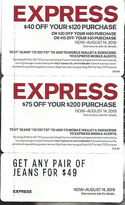 Express Coupons $40 Off $120, $75 Off $200, Jeans For $49 Expires 8/14/19