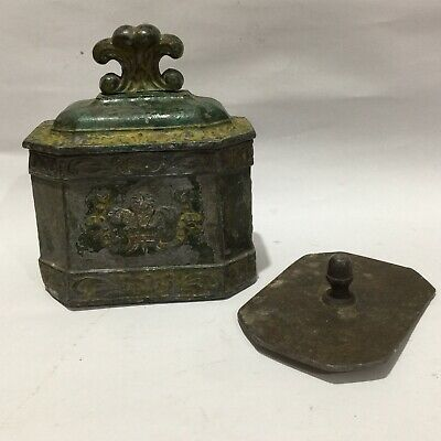 Antique (possibly) 18th Century Lead Tobacco Or Snuff Box With Damper 3 Feathers