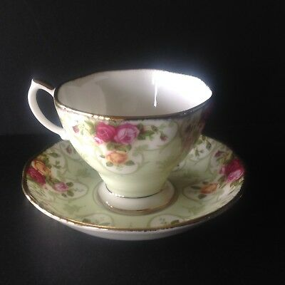 Royal Albert Rose Cameo Green Teacup and Saucer Made in England Never Used